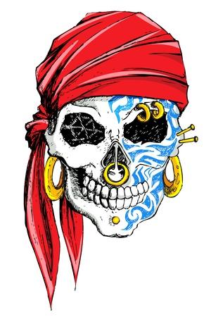 calavera pirata: la ilustración del cráneo decorado con tatuaje en el fondo blanco