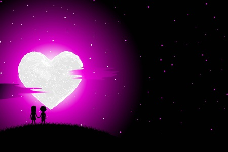 truelove: illustration of boy and girl walking in romantic night with heart shaped moon Illustration