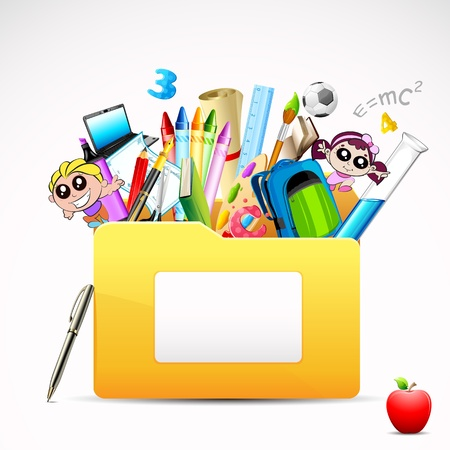 scholar: illustration of education folder with object on white background