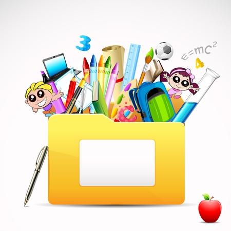 scholars: ilustraci�n de la carpeta de la educaci�n con el objeto en el fondo blanco