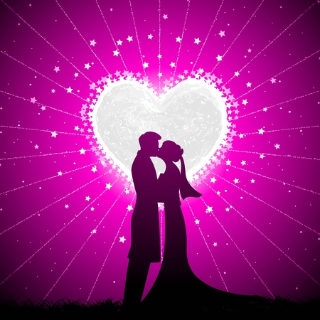 illustration of couple kissing in night view with heart shape moon backdrop illustration