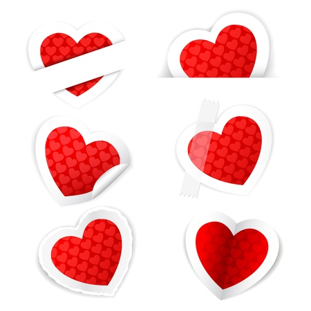 illustration of paper heart sticker set on white background Vector
