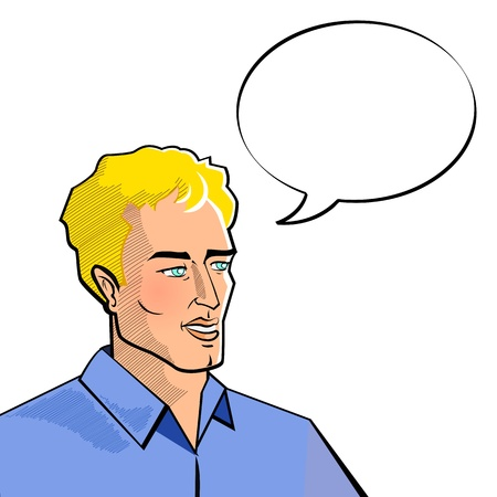 illustration of man with speech bubble in pop art style Vector
