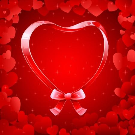 truelove: illustration of ribbon heart on love background Illustration