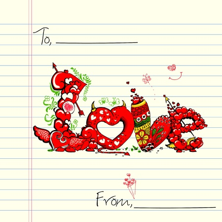 truelove: illustration of colorful love card in doodle style
