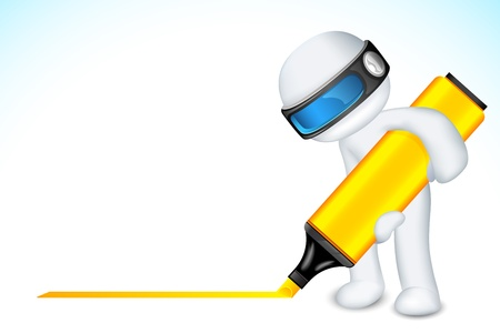 illustration of 3d man writing with marker in vector fully scalable Vector