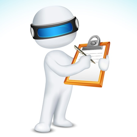 clipboard: illustration of 3d man writing on notepad in vector fully scalable