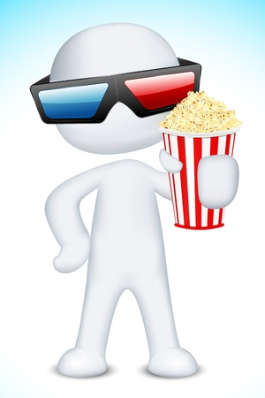 illustration of 3d man in vector fully scalable wearing 3d glasses and holding popcorn Vector