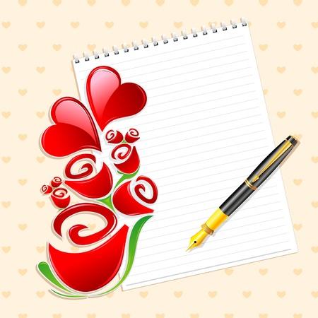 truelove: illustrazione di valentine card con cuori e rose su sfondo astratto