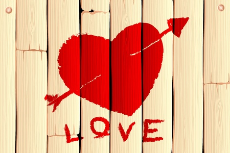 illustration of heart with arrow on wooden love background Vector
