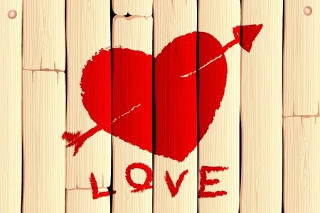 Ilustraci�n de coraz�n con la flecha en el fondo de madera de amor