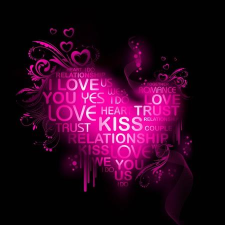 colorful heart: illustration of love heart on valentine background Illustration