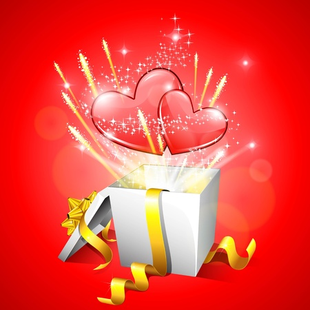 festive occasions: illustration of heart with sparks coming out of gift box