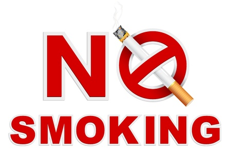 ash: illustration of no smoking sign with cigarette
