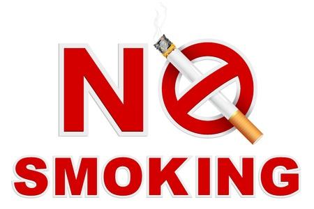 prohibido fumar: ilustración de signo de no fumar con el cigarrillo