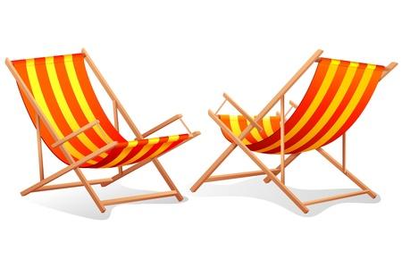 illustration de point de vue différent de la chaise de plage sur fond blanc