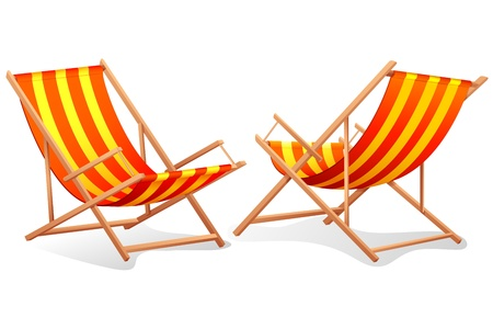 reclining chair: illustration of different perspective of beach chair on white background