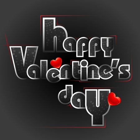 truelove: illustration of happy valentines day card in typography style Illustration