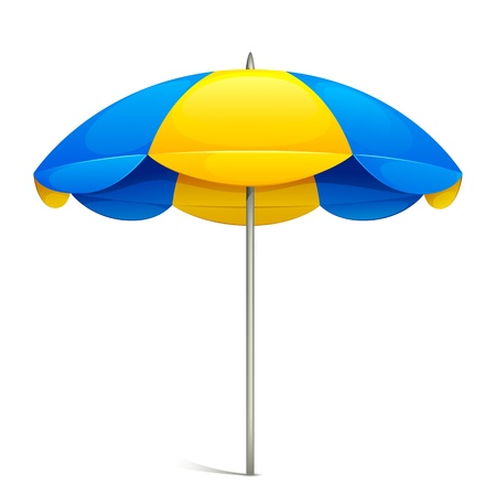 beach umbrella: illustration of colorful beach umbrella on white background