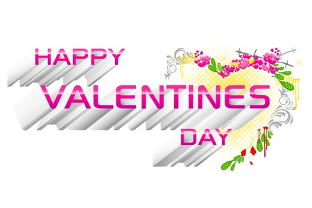 truelove: illustration of happy valentines day card with floral heart
