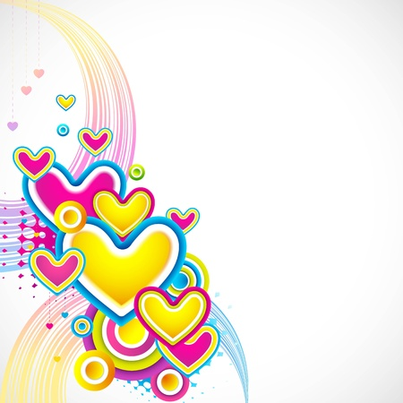 illustration of colorful heart on love card Vector