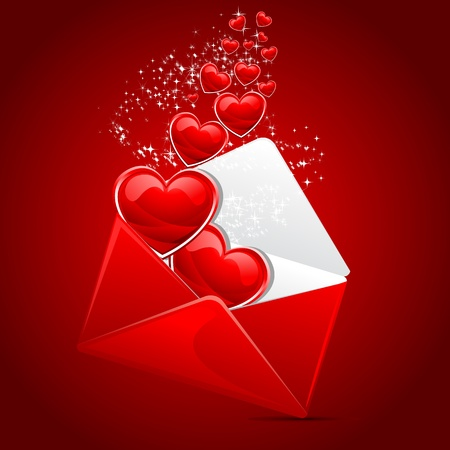 letter envelope: illustration of heart coming out of envelope as love message