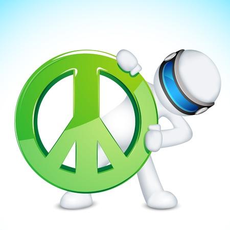 schaalbaar: illustratie van 3d man in vector volledig schaalbaar met vredesteken Stock Illustratie