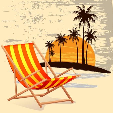 strandstoel: illustratie van de stoel op het strand achtergrond met palmboom Stock Illustratie