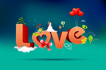 truelove: illustration of typography card of happy valentine with love text Illustration