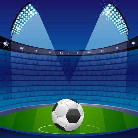 illustration of soccer ball in stadium with floodlight and crowd Vector