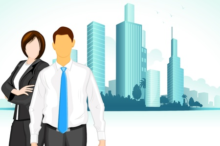 illustration of business man and woman standing on city backdrop Stock Vector - 12136596