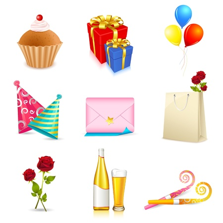 event icon: illustration of birthday party elements on isolated background