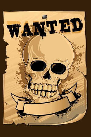 wanted poster: illustration of vintage wanted poster with skull printed on it