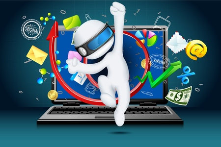 illustration of 3d businessman in vector fully scalable coming out of laptop Stock Illustration - 12178276