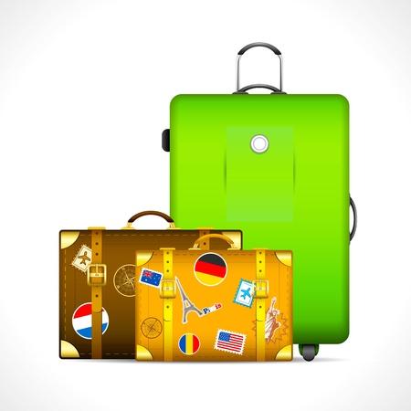 packing suitcase: illustrazione dei bagagli con adesivo diverso timbro paese su di loro