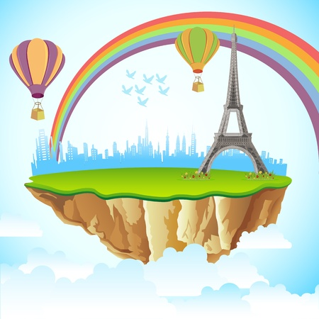 monument historical monument: illustration of Eiffel Tower on earth in cloudscape background Illustration