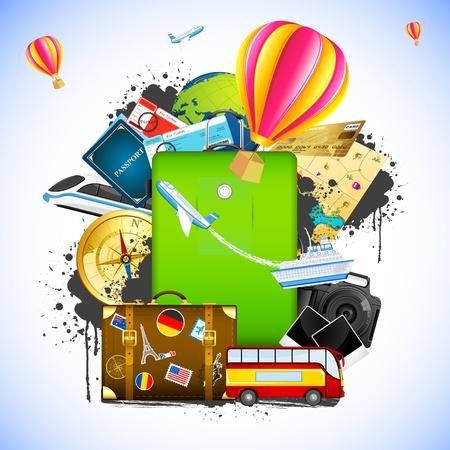 ilustración de viajar elemento como el autobús, tren, globo de aire caliente y el billete alrededor de equipaje