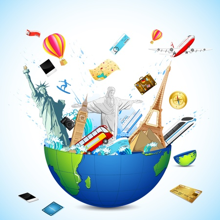 symbol tourism: illustration of world famous monuments coming from globe with air tickets