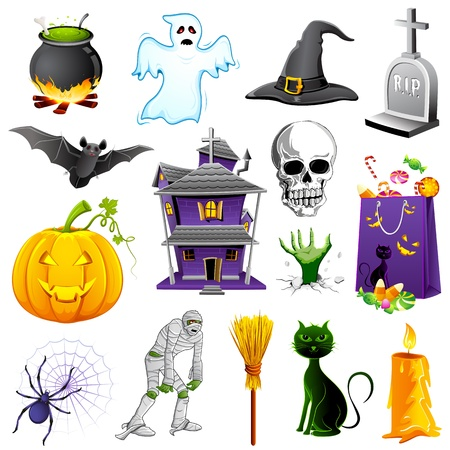 trumna: ilustracja z zestawu elementów Halloween z dyni, ducha i bat