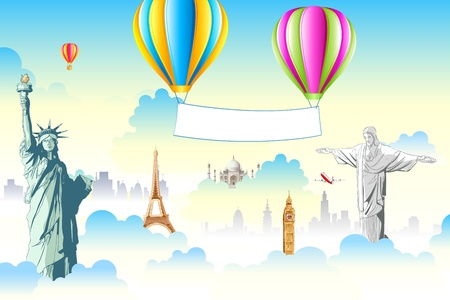 international landmark: illustration of world famous monument in cloudscape with hot air balloon