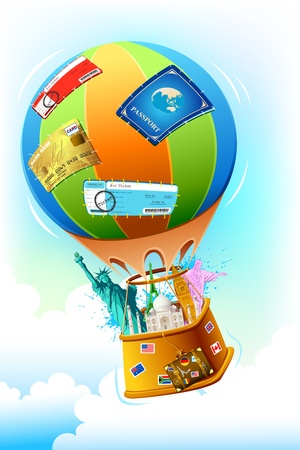 illustration of world famous monument and other travel item in hot air balloon Vector