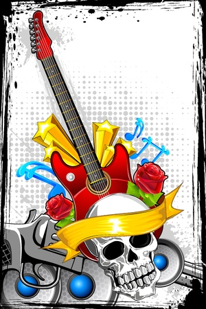 modern rock: illustration of guitar with skull on abstract musical background