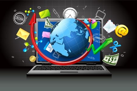 illustration of globe and business item coming out of laptop Stock Illustration - 12178279