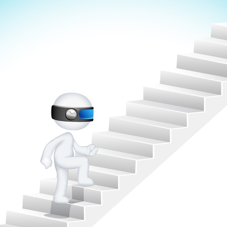 schaalbaar: illustratie van 3d business man in Scalable Vector klimmen succes trap