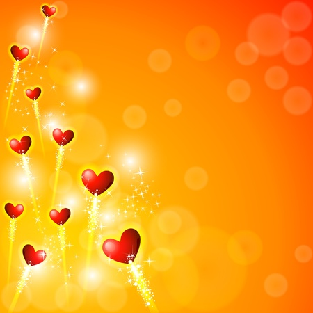 truelove: illustration of glowing heart on abstract background