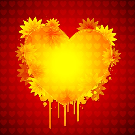 illustration of pair of heart with floral design Vector