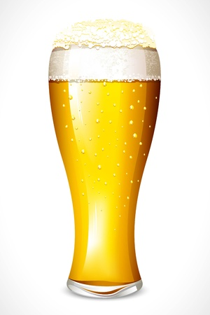 beer drinking: illustration of beer glasses on white background
