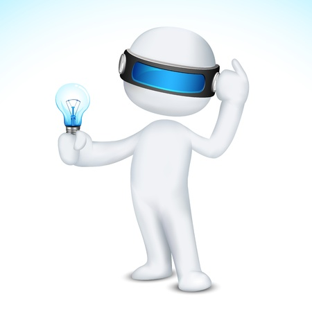 scalable: illustration of thinking 3d man in scalable vector with bulb in hand Illustration