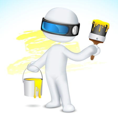 paint container: illustration of 3d man in scalable vector with paint bucket and paint brush