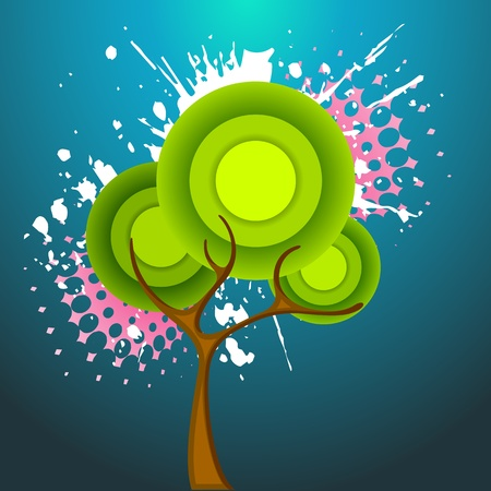 illustration of tree on abstract grungy background Stock Vector - 12178258
